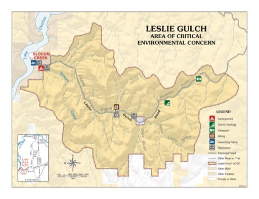 map of Leslie Gulch - Recreation Map