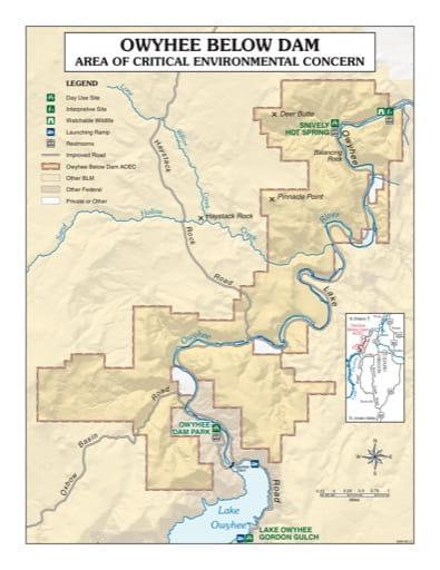 map of Owyhee Below Dam - Recreation Map