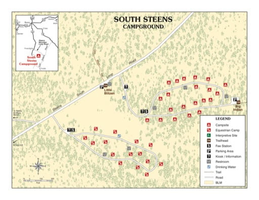 map of Steens Mountain Wilderness - South Steens Campground