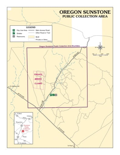 map of Warner Wetlands - Oregon Sunstone Public Collection Area Map