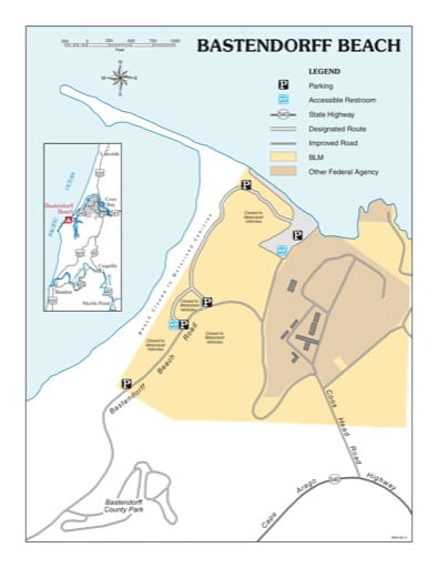 Recreation Map of the Bastendorff Beach in the BLM Coos Bay District area in Oregon. Published by the Bureau of Land Management (BLM).