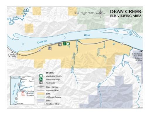 map of Dean Creek - Elk Viewing Area Map