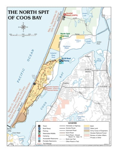 map of Coos Bay - North Spit of Coos Bay