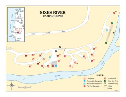 map of Sixes River - Campground Map