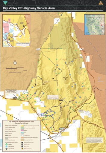 Trails Map of the Dry Valley Off-Highway Vehicle Area (OHV) in Nevada. Published by the Bureau of Land Management (BLM).
