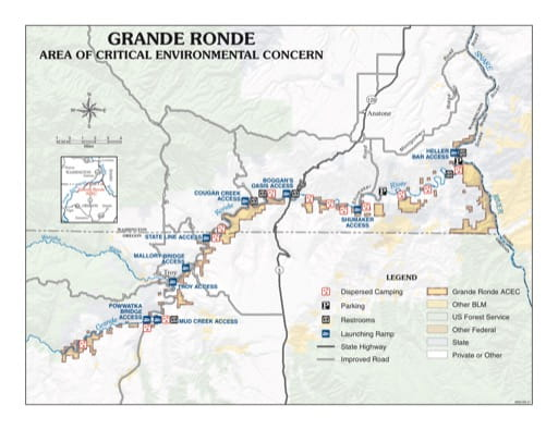 map of Grande Ronde River - Visitor Map