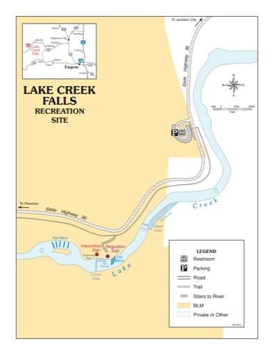 map of Lake Creek Falls - Recreation Map