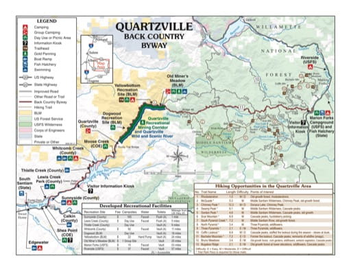 map of Quartzville Creek - Back Country Byway Map
