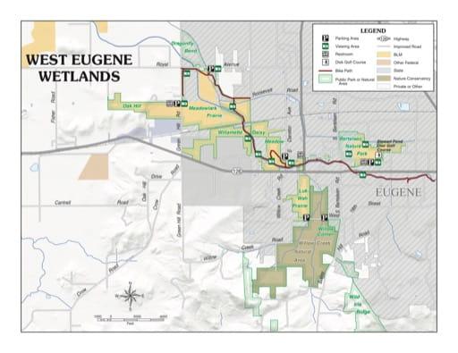 Visitor Map of West Eugene Wetlands in Oregon. Published by the Bureau of Land Management (BLM).