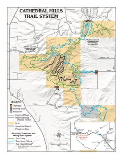 map of Cathedral Hills - Trail Map
