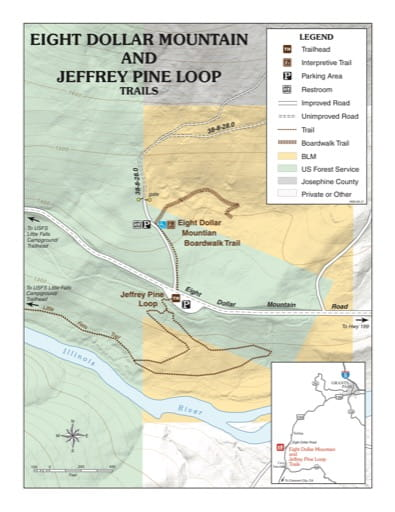 map of Eight Dollar Mountain and Jeffrey Pine - Trail Map