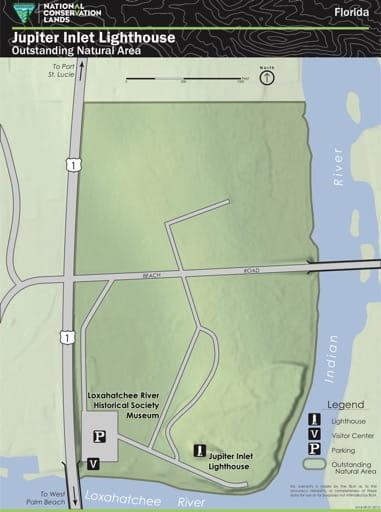 map of Jupiter Inlet Lighthouse ONA