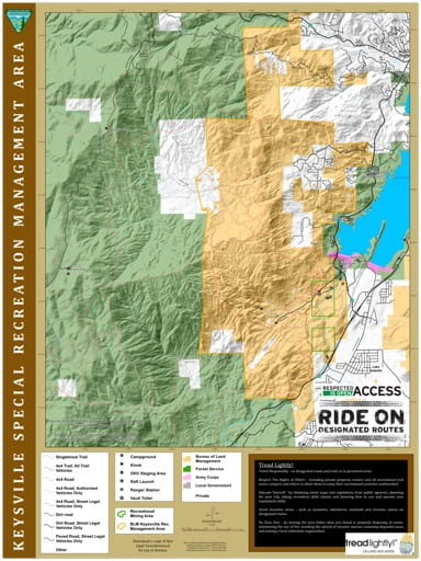 Visitor Map of Keysville Special Recreation Management Area (SRMA) in California. Published by the Bureau of Land Management (BLM).