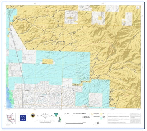 map of Lake Havasu Travel Management - Area 3