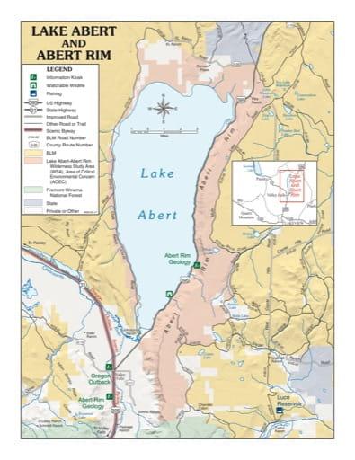 map of Lake Abert and Abert Rim - Visitor Map