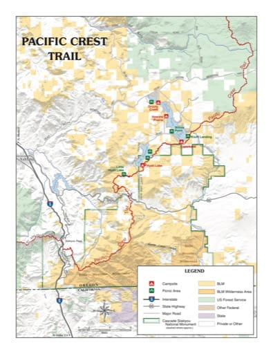 map of Cascade-Siskiyou - Pacific Crest Trail