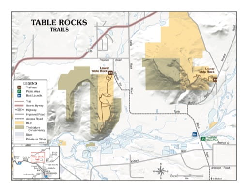 map of Table Rocks - Recreation Map