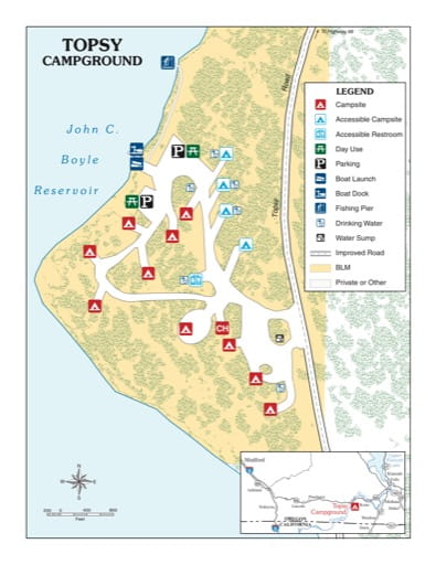 map of Klamath River - Topsy Campground