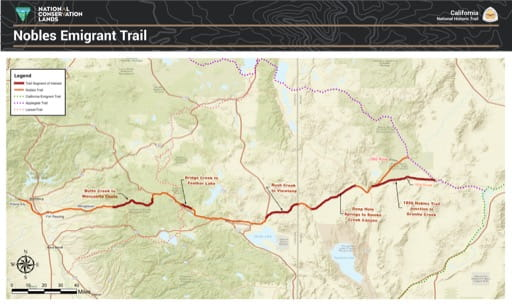Map of the Nobles Emigrant Trail section, part of the California National Historic Trail (NHT), located outside of Susanville, California. Published by the Bureau of Land Management (BLM).