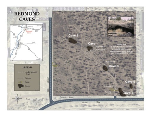 map of Redmond Caves - Visitor Map