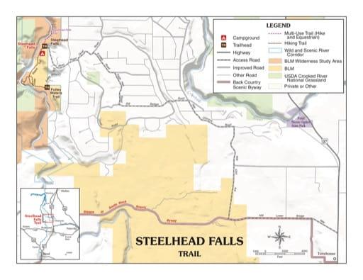 map of Deschutes River - Steelhead Falls Trail