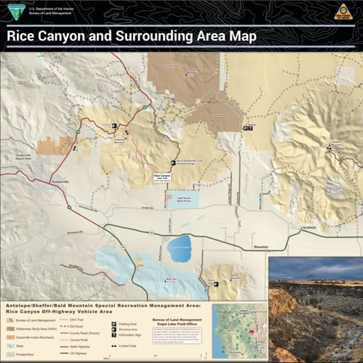 Visitor Map of Rice Canyon Off-Highway Vehicle Area (OHV) in California. Published by the Bureau of Land Management (BLM).