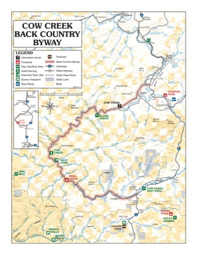 map of Cow Creek - Back Country Byway Map
