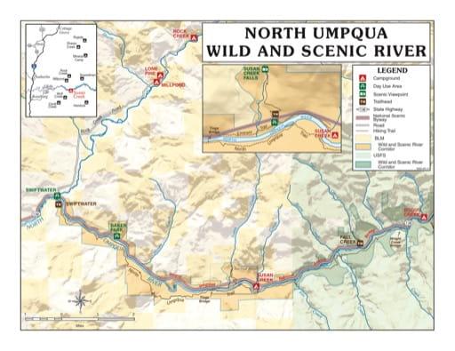 map of North Umpqua River - Vistior Map