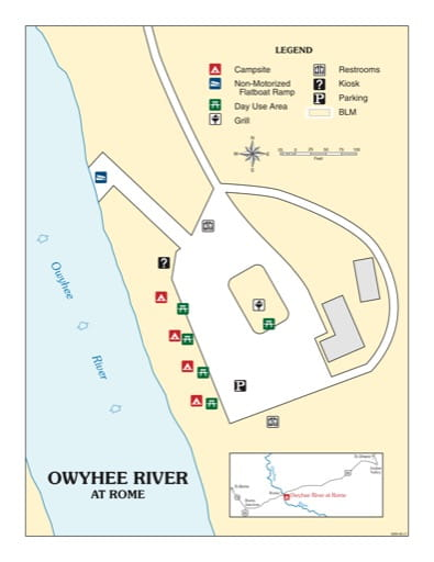 map of Owyhee River at Rome - Recreation Map