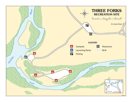 map of Three Forks - Recreation Map