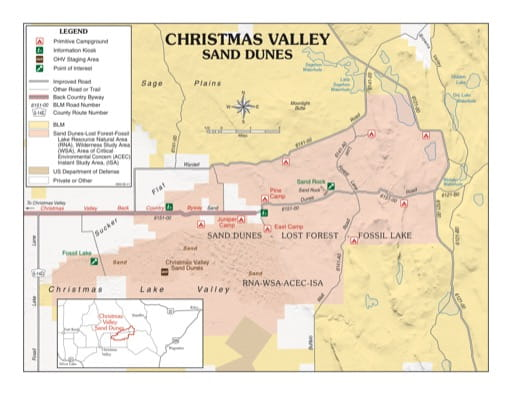 map of Christmas Valley Sand Dunes - Recreation Map