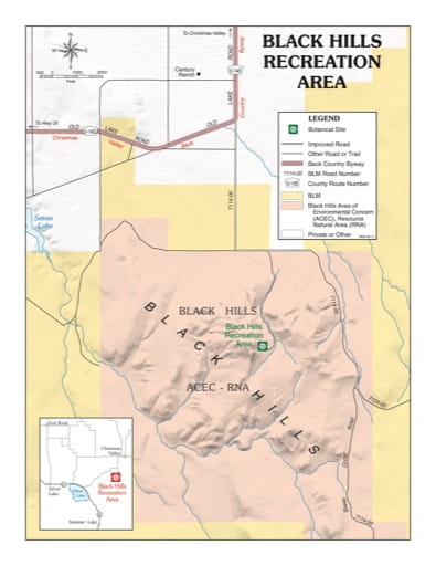 map of Black Hills - Recreation Map