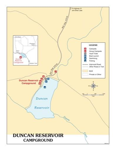 map of Duncan Reservoir - Recreation Map