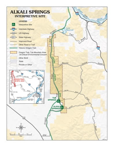 Recreation Map of Alkali Springs Interpretive Site (IS) in Oregon. Published by the Bureau of Land Management (BLM).