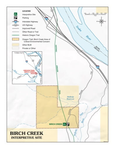 Visitor Map of Birch Creek Interpretive Site in Oregon. Published by the Bureau of Land Management (BLM).