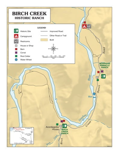 Visitor Map of Birch Creek Historic Ranch in Oregon. Published by the Bureau of Land Management (BLM).