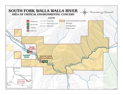 map of South Fork Walla Walla River - Recreation Map
