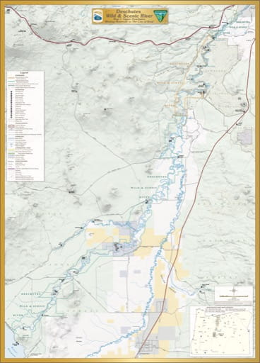 Map 1: Upper Deschutes, shows the section from Wickiup Reservoir to The City of Bend of Deschutes Wild & Scenic River (WSR) in Oregon. Published by the Bureau of Land Management (BLM).