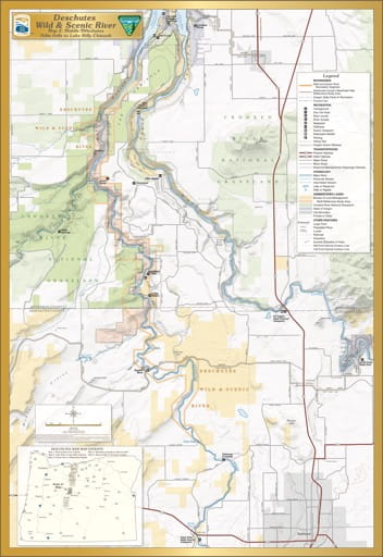 Map 2: Middle Deschutes, shows the section from Odin Falls to Lake Billy Chinook of Deschutes Wild & Scenic River (WSR) in Oregon. Published by the Bureau of Land Management (BLM).