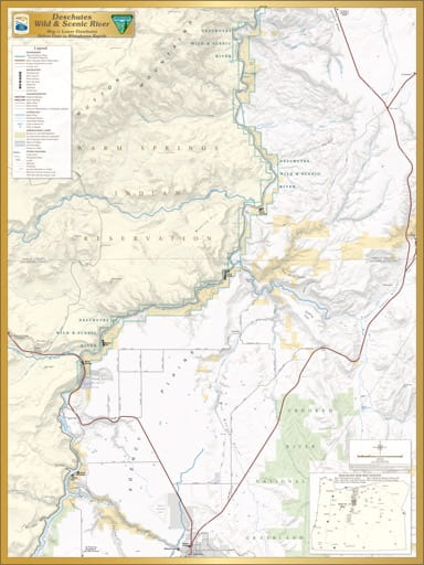 Map 3: Lower Deschutes, shows the section from Pelton Dam to Whitehorse Rapids of Deschutes Wild & Scenic River (WSR) in Oregon. Published by the Bureau of Land Management (BLM).