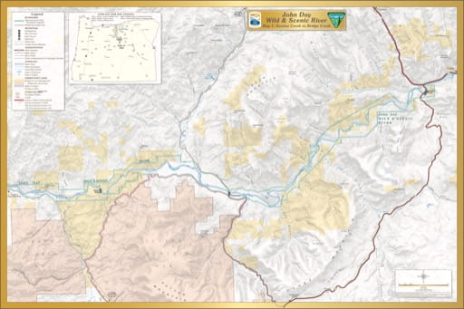 Map 1 showing the section from Service Creek to Bridge Creek of the John Day Wild & Scenic River (WSR) in Oregon. Published by the Bureau of Land Management (BLM).
