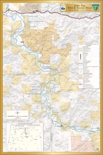 Map 2 showing the section from Bridge Creek to Clarno of the John Day Wild & Scenic River (WSR) in Oregon. Published by the Bureau of Land Management (BLM).