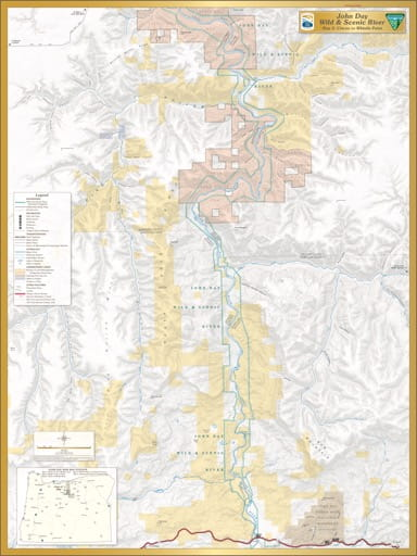 Map 3 showing the section from Clarno to Whistle Point of the John Day Wild & Scenic River (WSR) in Oregon. Published by the Bureau of Land Management (BLM).