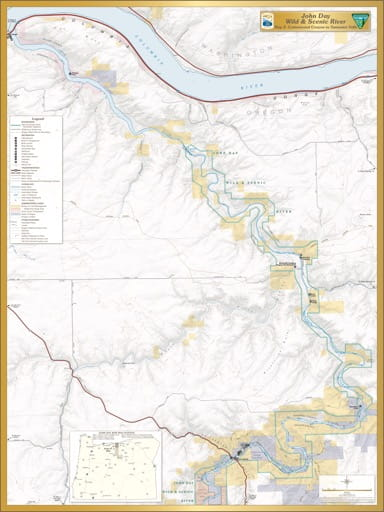 Map 5 showing the section from Cottonwood Canyon to Tumwater Falls of the John Day Wild & Scenic River (WSR) in Oregon. Published by the Bureau of Land Management (BLM).