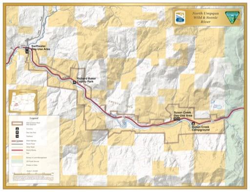 map of North Umpqua River - Visitor Map