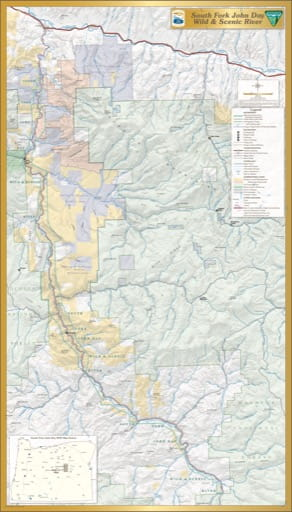 map of South Fork John Day River - Visitor Map
