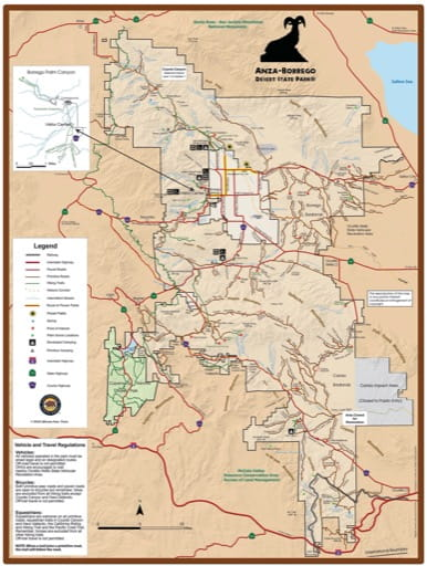 map of Anza-Borrego Desert - Visitor Map