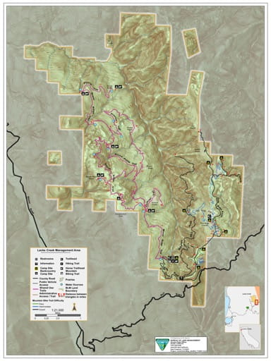 Recreation Map of Lacks Creek Management Area (MA) in the BLM Arcata Field Office area in California. Published by the Bureau of Land Management (BLM).