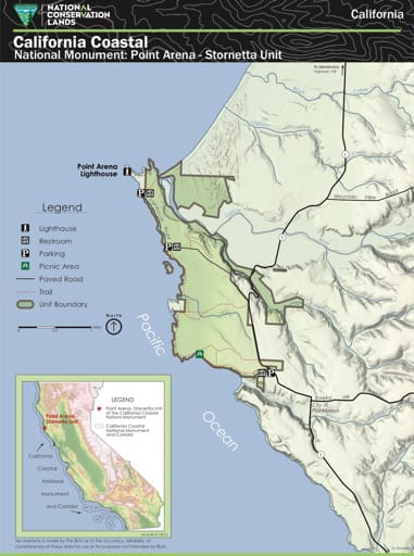 Visitor Map of the Point Arena - Stornetta Unit area in the California Coastal National Monument (NM) in California. Published by the Bureau of Land Management (BLM).