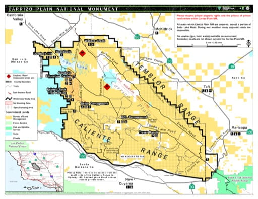 Visitor Map of Carrizo Plain National Monument (NM) in California. Published by the Bureau of Land Management (BLM).